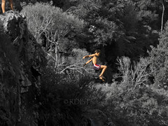 Cliff Jumping 06 (C & R Driver-Burgess) Tags: girls shadow cliff men fall boys water forest river high jump bush women alone body air hills together shade maori splash sunlit leap scrub banks hurl pakeha