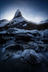 [ ... night eternal ] (D-P Photography) Tags: blue moon mountain cold ice norway night river dark stars landscape rocks mood norwegen moonlight landschaft stetind northernnorway dpphotography stianklo dennispolklser