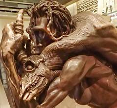 Bronze sculpture of a female Homo Erectus hunter with an antelope kill 1.89 million - 70000 B.P. (mharrsch) Tags: sculpture statue female bronze washingtondc smithsonian human hunter prehistoric hominid nationalmuseumofnaturalhistory homoerectus mharrsch
