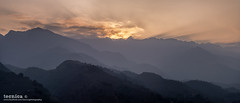 Quiet Giants (t3cnica) Tags: travel sunset panorama mist mountain nature fog landscapes nationalpark intense warm tranquility vietnam valley greenery layers himalaya tranquil sapa crepuscular mountainrange crepuscularray travelphotography fansipan honglinson