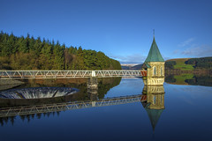 Pontsticill Reservoir (wentloog) Tags: uk blue sky sun lake reflection tower water fog wales canon landscape eos britain outdoor dam steve watertower cymru cardiff reservoir breconbeacons caerdydd 5d brecon beacons pontsticill mkiii garrington punp pontsticillreservoir wentloog stevegarrington