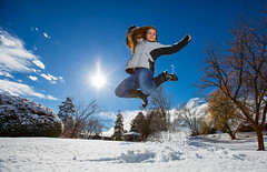 Who cares if it's cold. (Flickr_Rick) Tags: winter woman snow cold girl outside jump jumping breanne jumpology