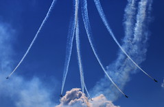 Blooming flower... (Michael Kalognomos) Tags: blue sky flower canon eos smoke airplanes trails athens airshow greece acrobatics 75300 hdr vapour aerobatics blooming fumes synchronization tatoi 70d