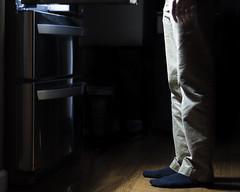 74/366: Binge (thomas officer) Tags: boy food man feet kitchen socks night project foot fridge sock afternoon legs eating leg eat teen snack late 365 conceptual binge binging 366