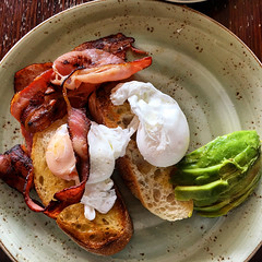 Poached eggs on toast with bacon and avocado at La Luciola in South Yarra (ultrakml) Tags: food breakfast bread avocado bacon toast egg southyarra australia melbourne victoria iphoto poached laluciola appleiphone6splus