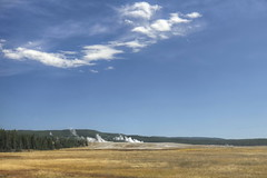 Fountain Flats from River Group (Chief Bwana) Tags: forest river yellowstonenationalpark yellowstone wyoming geyser nationalparks hotspring wy fireholeriver thermalarea lowergeyserbasin geyserbasin fountainflats rivergroup psa104 chiefbwana