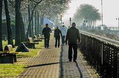 Morning Walk (Martin Smith - Having the Time of my Life) Tags: ca canada fog britishcolumbia whiterock walkers morningwalk hff martinsmith chainedlinkfence nikond7000 happyfencefriday martinsmith