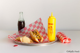 Vintage hot dog still life.