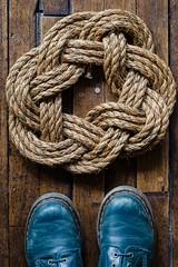 turk's head (angie pineappletree) Tags: wood texture floor boots rustic rope knot nautical hardwood turksheadknot