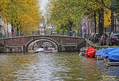 Amsterdam's Prinsengracht Canal, The Netherlands (PhotosToArtByMike) Tags: bridge holland netherlands dutch amsterdam canal bikes prinsengracht houseboats prinsengrachtcanal canalhouse grachtengordel canalring