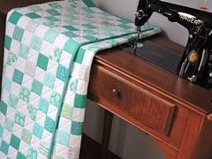 Aqua Quilt (Cotton Cellar) Tags: baby modern quilt patchwork checkerboard