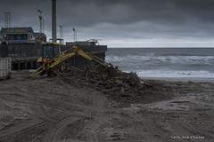 Debris Cleanup (scottnj) Tags: ocean beach water clouds dumpster pier newjersey sand debris nj driftwood jerseyshore backhoe seasideheights scottnj scottodonnellphotography