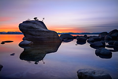 Silk and Stillness (David Shield Photography) Tags: california longexposure light sunset sky color nature water landscape twilight nikon nevada laketahoe explore easternsierras explored bonsairock