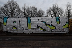 BUSY (TheGraffitiHunters) Tags: street blue black green art train silver graffiti big colorful paint tracks spray busy covered boxcar freight benched benching