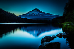 waiting for the clouds to show up (myszka41) Tags: mountain lake oregon landscape volcano evening or mthood bluehour pnw trilliumlake canon6d