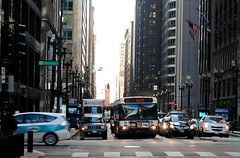 Washington & Dearborn (Cragin Spring) Tags: street city urban usa chicago bus cars corner buildings illinois midwest downtown cta unitedstates loop unitedstatesofamerica chitown il intersection chicagoillinois chicagoil windycity