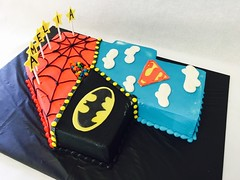 Super Hero 4th Birthday Cake (tasteoflovebakery) Tags: birthday cake four 4 spiderman super superman hero batman