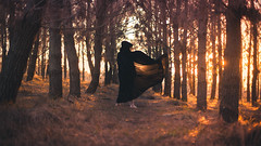 6/52 (K.Ma) Tags: trees sunset portrait black feet forest dark movement model woods dynamic fineart portraiture cape messenger concept blackmessenger