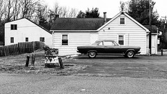 The Sound Outside My Motel Room (c. Melon Images) Tags: street monochrome car vintage documentary roadtrip negativespace americana timeless musclecar fujix
