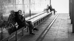 So Lonely (Marián Company (The Fresh Feeling Project*)) Tags: street portrait blackandwhite bw contrast noiretblanc zaragoza sentado streetphoto lonely soledad sombras señor streetphotographer