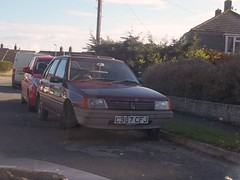 Peugeot 205 1.1 GL (occama) Tags: old uk car french early cornwall wine maroon small 1985 peugeot 205 gl
