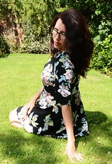 Carmen_2675 (Fast an' Bulbous) Tags: summer england people woman hot sexy floral girl grass leaves female pose garden hair glasses nikon long dress outdoor feminine lawn gimp babe chick brunette hotty d7100