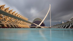 City of Arts and Sciences (#1) (Doundounba) Tags: longexposure bridge espaa topf25 valencia spain pentax espagne valence k3 ciudaddelasartesylasciencias cityofartsandsciences ciutatdelesartsilescincies elmuseudelescinciesprncipefelipe gora pentaxart sigmaexdc1020mmf456 intervalcomposite elpontdelassutdelor 35ormorefaves