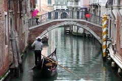 Venice Canal Scene (Alan1954) Tags: bridge venice italy holiday water umbrella reflections canal gondola gondolier 2016 platinumpeaceaward