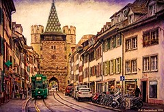 Spalenvorstadt leading to the City Gate Spalentor, a Digital Painting (PhotosToArtByMike) Tags: switzerland swiss basel digitalpainting rhine ch citygate spalentor grossbasel spalenvorstadt spalengate baselswitzerland gateofspalen oldtownbasel
