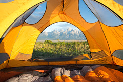 Morning View (matteleonard) Tags: camping sky mountain mountains grass tent tetons