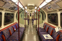 1972 Stock Bakerloo Line old moquette (LFaurePhotos) Tags: life london night train interior newspapers railway seats londonunderground middlesex deserted thetube upholstery moquette kenton bakerlooline 1972stock