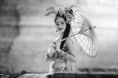 *** (Fevzi DINTAS) Tags: travel portrait blackandwhite bw cute tourism girl monochrome beautiful look lady umbrella pose asian thailand model pretty dress sweet modeling traditional style lovely cultural stylish teenage paza140