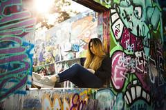 งาม V (KamrenB Photography) Tags: park trees portrait urban plants blur color castle window girl beautiful smile field canon austin hair outdoors person hope graffiti model paint pretty gallery texas photoshoot angle bokeh modeling outdoor side low hill 85mm spray dimple sit dimples spraypaint 18 modelling depth atx 6d งาม kamgtr kamrenb