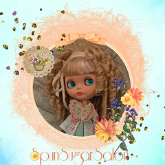 Schmetterling (spunsugarsalon) Tags: flowers glitter butterfly garden scrapbooking bigeyes handmade embroidery curls overlay blythe fashiondoll couture customdoll dollfashion bceuhamburg