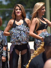 Spurs Cheerleaders (Ashley3D) Tags: sexy leather female silver outdoors spurs 22 pom san downtown texas dancers bra broadway gap sunny parade redhead blonde april leader latino cheer cheerleader antonio chaps fit hotpants 2016 battleofflowers ashley3d