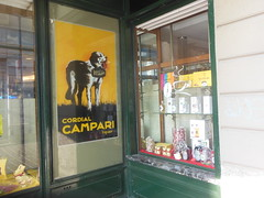 cordial campari (sprinter77) Tags: old dog window glass sign cane shop vintage advertising chocolate antico campari epoca cordial pubblicita valtorta vetrofania