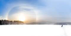 Parhelion (Svein Skjåk Nordrum) Tags: winter light sky sun lake snow cold nature oslo norway clouds landscape outdoors woods scenery crystals ray skiing nimbus horizon january arc halo explore refraction parhelion prisms sundog atmospheric halos icecrystals xcskiing nordmarka rottungen sundogs icehalo diamonddust icebow gloriole explored 22°halo phenomen mocksuns bisol solhund g1xmarkii g1xmii phantomsuns