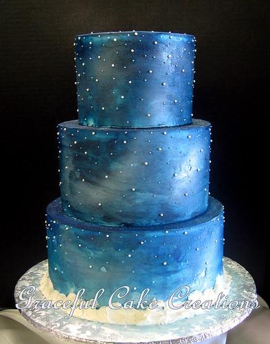 Elegant Starry Night Christmas Wedding Cake - a photo on Flickriver
