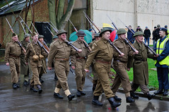 7th Sunday Brunch Scramble - Bicester Heritage - 3rd January 2016 - Left, right, left, right! Bicester Home Guard on patrol (Trackside70) Tags: uk heritage classic cars rain vintage army military sunday january brunch 7th 3rd scramble sportscars bicester 2016 dadsarmy homeguard nikkor35mmf18 nikond300s