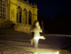 Dancing in the snow (cwipix) Tags: longexposure nightphotography winter light snow cold night dark season ghost snowstorm snowing illuminate gloriette nachtfotografie snowtrails