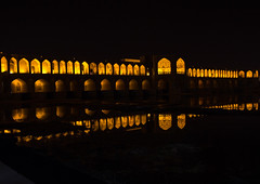 a view of the khaju bridge at night highlighting the arches, Isfahan Province, isfahan, Iran (Eric Lafforgue) Tags: city travel bridge urban reflection building tourism horizontal architecture night buildings outdoors persian asia arch iran middleeast bridges engineering persia arches nobody landmark architectural illuminated civil iranian centralasia esfahan isfahan ispahan إيران иран イラン irão isfahanprovince khajubridge 伊朗 colourpicture 이란 hispahan iran034i3516