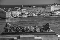 Monument to the Unknown Soldier (Pittur001) Tags: sea white black monument sunrise soldier mediterranean malta unknown valletta