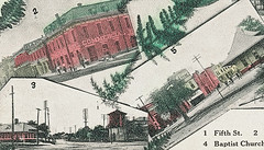 Untitled multi-view postcard of North Vernon, Indiana, close-up section (Hoosier Recollections) Tags: people usa signs man color men history boys station kids buildings advertising children awning hardware churches indiana streetscene transportation pedestrians depot hotels storefronts banks businesses jenningscounty northvernon hoosierrecollections