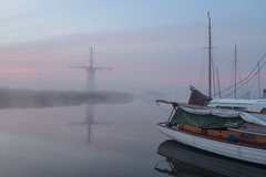 Beautiful Thurne (Steven Docwra) Tags: autumn mist landscape boats dawn nationalpark norfolk foggy nopeople calm tranquil eastanglia windpump norfolkbroads sailingboats thurne thebroads riverthurne broadsnationalpark