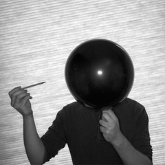 Self Portrait No. 4b (Pop!) (John Bense) Tags: portrait blackandwhite selfportrait monochrome up pencil self shine head air flash balloon pop blow pierce prick bang explode blowup
