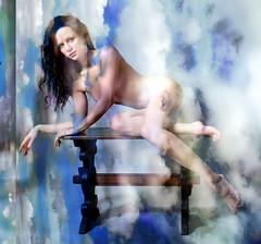 Split Canvas (crescentsi) Tags: blue sky woman beauty clouds nude donna mujer model pretty nu femme mulher digitalart surreal bleu ciel nubes bonita belle jolie bella frau hermosa beaute madchen simonharris