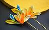 bird of paradise 04 (Bright Wish Kanzashi) Tags: flower yellow handmade silk exotic birdofparadise tsumami cadmium kanzashi customdesign zaiku