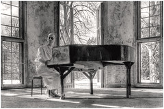 """Welcome To The Black Parade (steiner2009 """"AKA Dr Dust """") Tags: wood windows portrait blackandwhite snow berlin abandoned decay piano spooky patient decayed decaying urbex blackandwhiteportrait blackparade"""