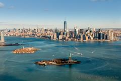 Liberty Island, Ellis Island and Manhattan over the Hudson River (WhitcombeRD) Tags: new york city nyc usa ny newyork statue skyline america liberty manhattan flight aerial helicopter statueofliberty