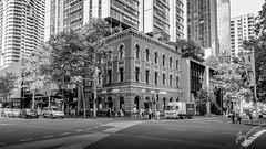 George St. Kent St. Intersection close to Town Hall Train Station (kayak360) Tags: morning people station town hall sydney australia pedestrian kfc intersection hsbc 2016